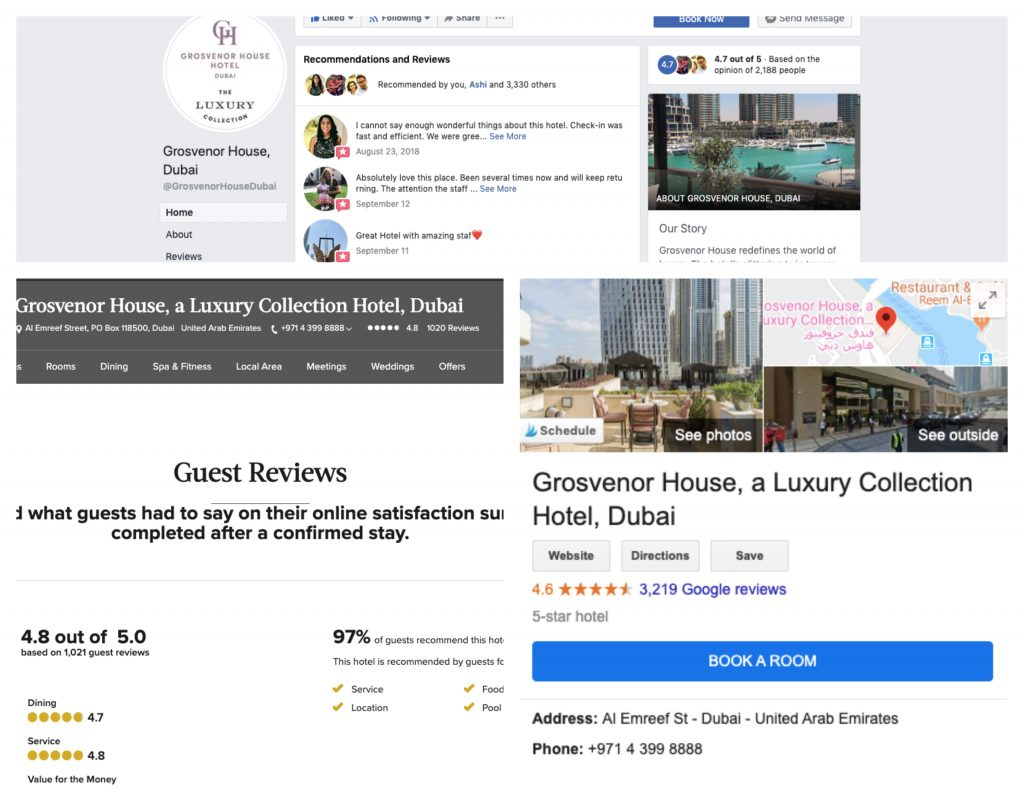 A photo showing hotel reviews on Google, Facebook, and the hotel's website.