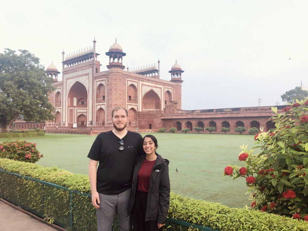 Amos and I outside one of the entrances gates at the Taj Mahal.