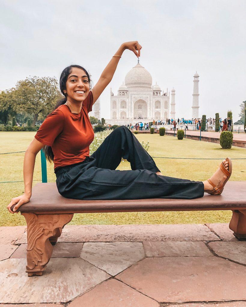 A photo of me posing at the Taj Mahal.