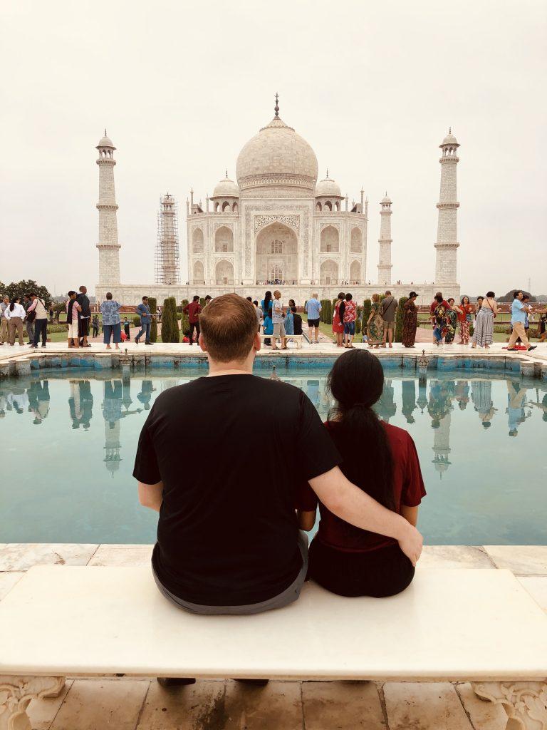 A photo of us at the Taj Mahal.