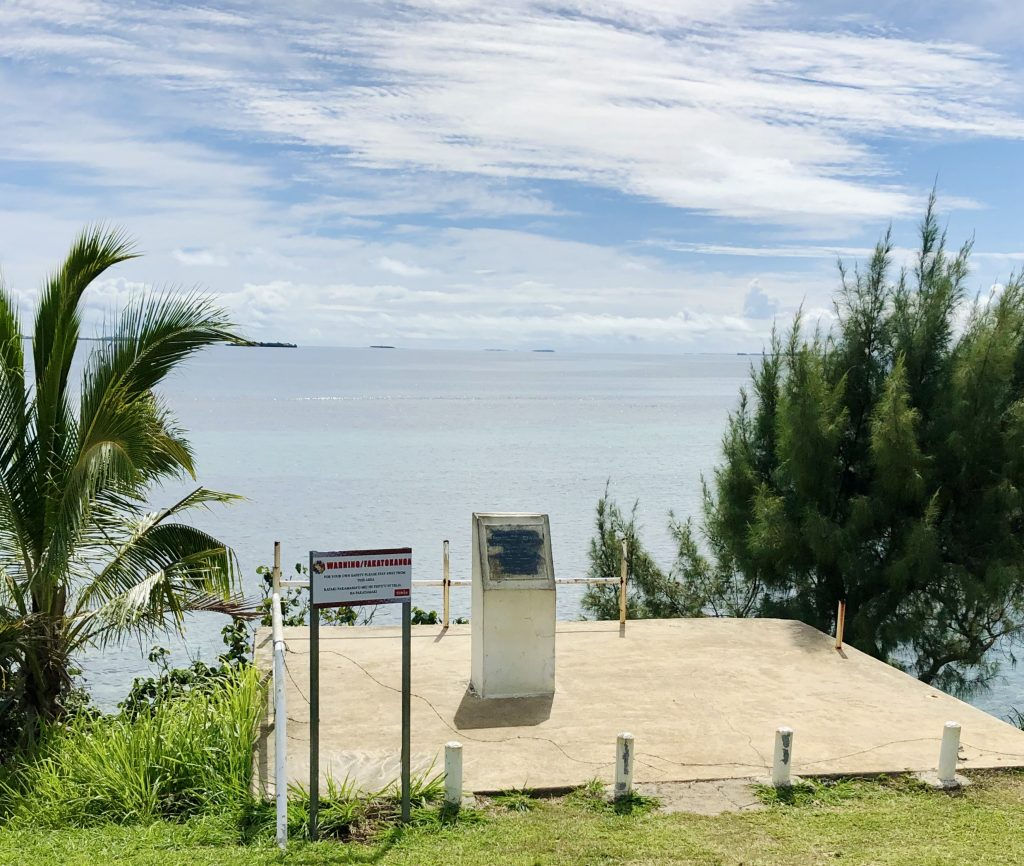 A photo of Abel Tasman's landing site in Nuku'alofa.