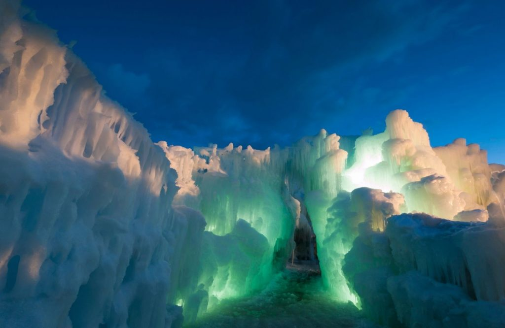 Midway Ice Castles are one of the best places to visit in Utah.