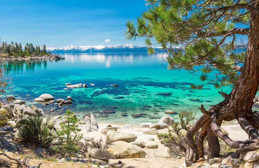 One of the beaches in the USA is Sand Harbor on Lake Tahoe.