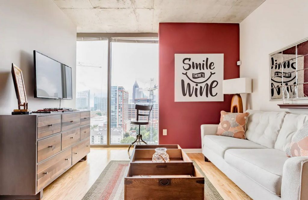 If you're looking for fun Airbnbs in Atlanta, check out this wine apartment.
