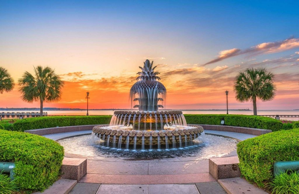 During your weekend in Charleston, be sure to watch the sunset in front of the infamous Pineapple!