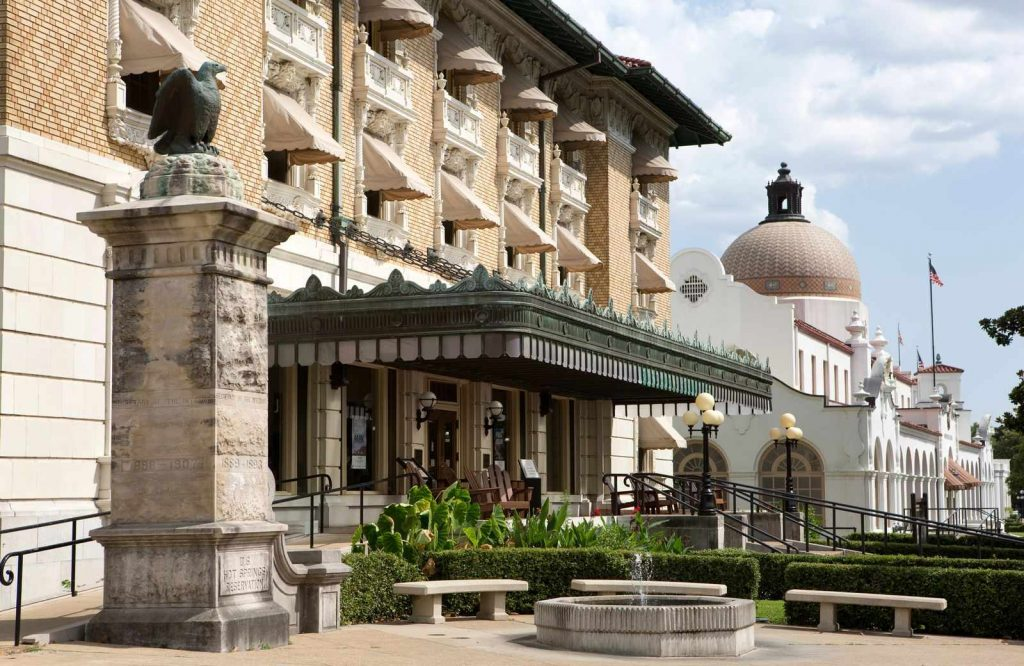 Bathhouse Row is one of the coolest things to do in Hot Springs, Arkansas.