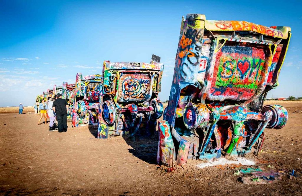 Cadillac Ranch is one of the weirdest Route 66 attractions.